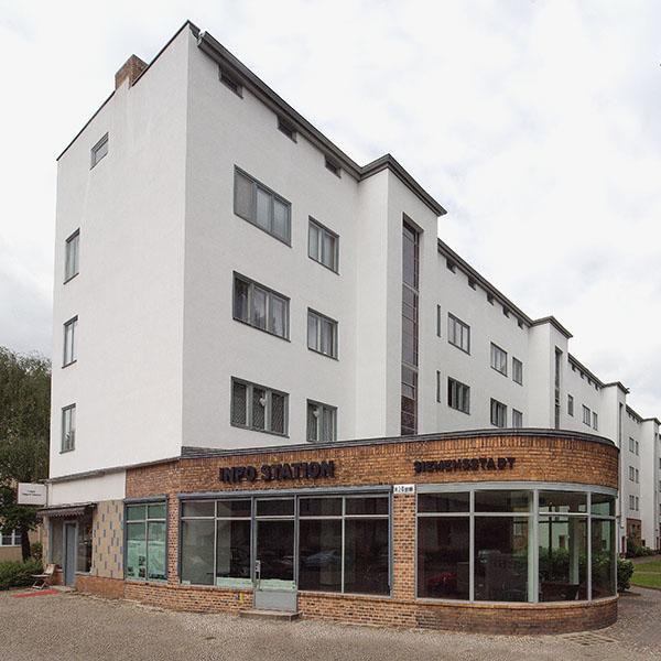 Exterior view of the Siemensstadt information station