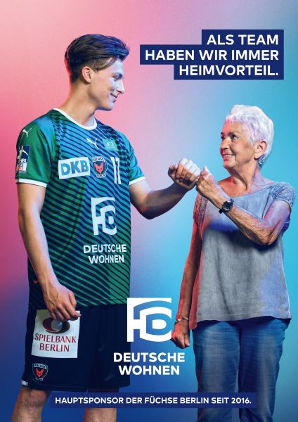 Nils Lichtlein makes the fist salute with an elderly lady
